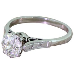 Art Deco 1.45 Carat Old Cut Diamond Engagement Ring