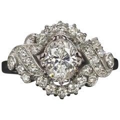 Art Deco 1.45 Carat White Gold Oval Diamond Cocktail Ring