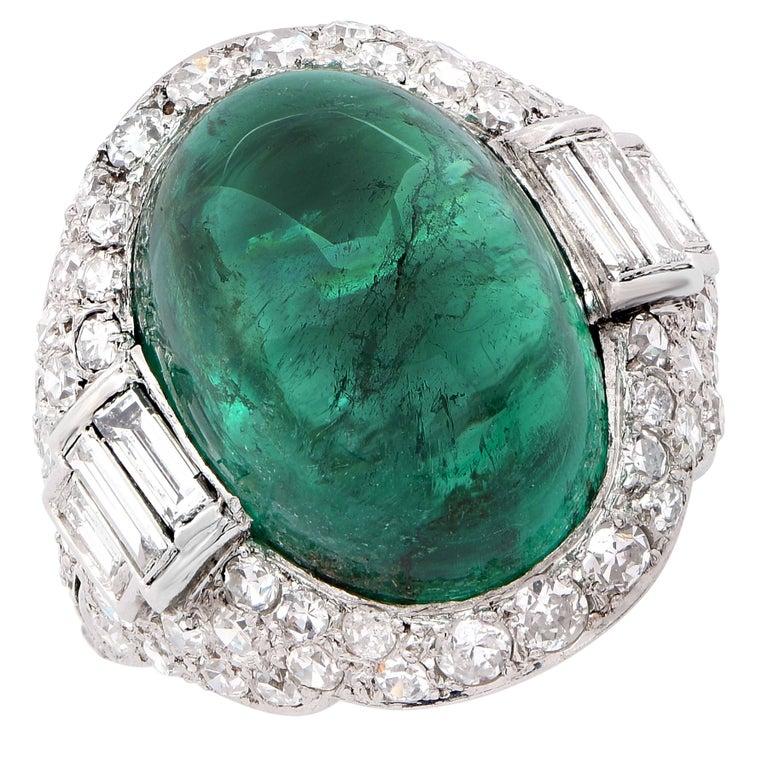 Women's Art Deco 14.75 Carat Sugarloaf Cabochon Cut Colombian Emerald Diamond Ring For Sale