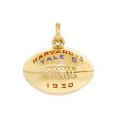 Art Deco 14k Gold Enamel 1930 Harvard Yale University Football Charm Pendant