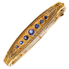 Art Deco 14k Gold Hinge Bracelet with Sapphires