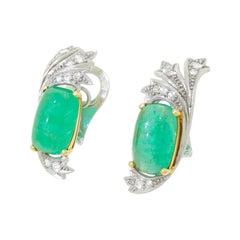 Art Deco 14K Gold & Palladium Earrings with 16 CTW Cabochon Emeralds & Diamonds