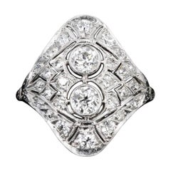 Art Deco 14K Gold & Platinum .68 Carat Total Weight Old European Cut Diamond