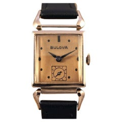 Art Deco 14k Rose Gold Filled Gents Wristwatch by Bulova, Fully Serviced, c1944
