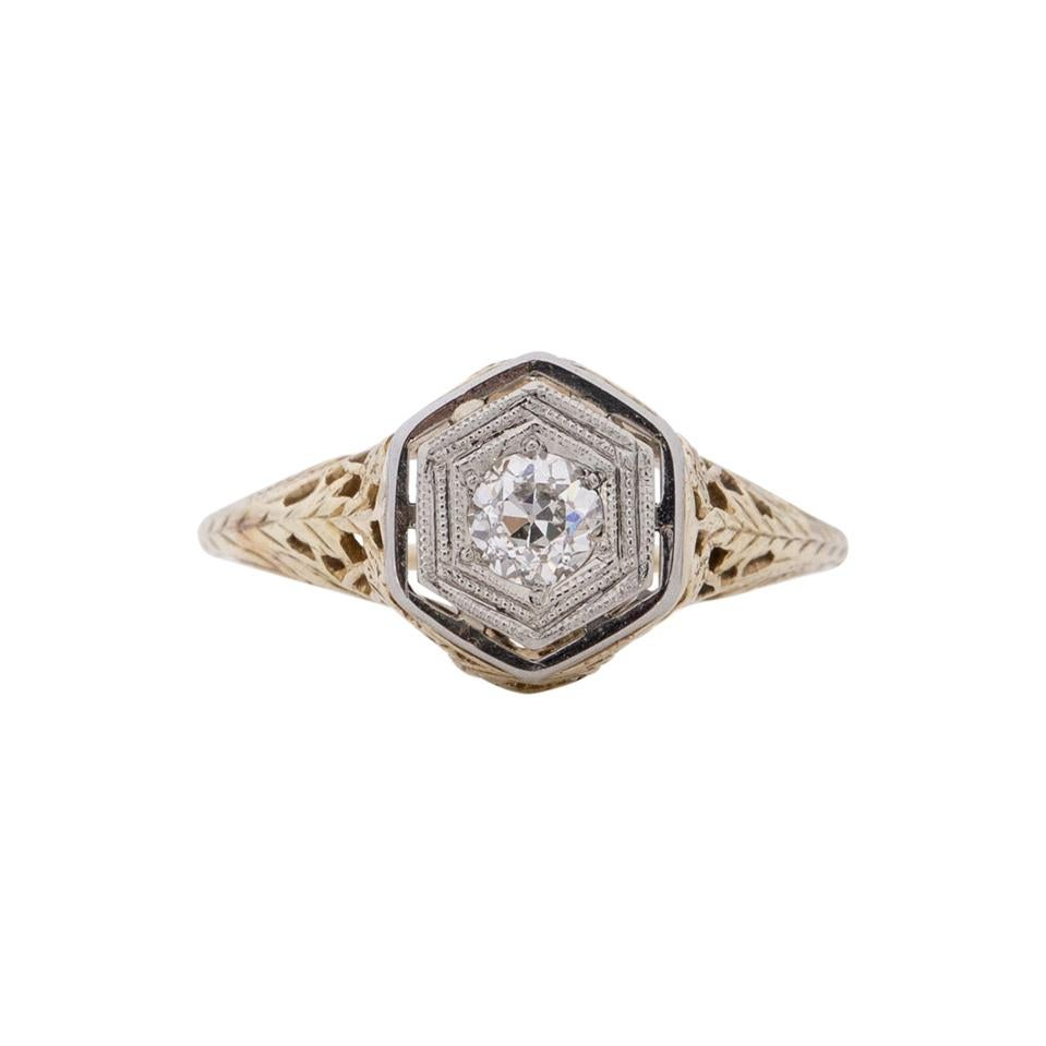 Art Deco 14K Two Tone Vintage .25Ct Old European Cut Diamond Engagement Ring