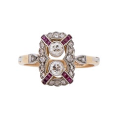 Art Deco 14k Two Tone Vintage Old European Cut Diamonds and Ruby Statement Ring