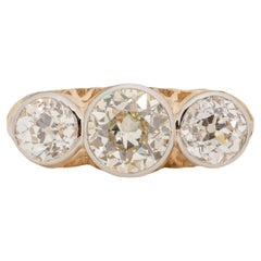 Art Deco 14K Two Tone Vintage Three Stone Ring GIA Certified Engagement Ring