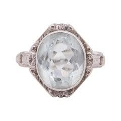 Art Deco 14k White Gold Antique Aquamarine Fashion Ring