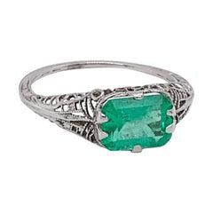 Art Deco 14k White Gold Filigree 1.41ct Genuine Natural Emerald Ring '#J4830'