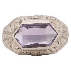 Art Deco 14K White Gold Filigree Carved Amethyst Unisex Vintage Statement Ring