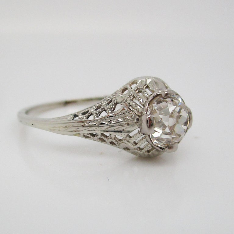 Art Deco 14 Karat White Gold Filigree Old Mine Cut Diamond Engagement Ring In Excellent Condition For Sale In Lexington, KY