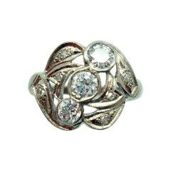 Art Deco 14k White Gold Genuine Natural Diamond Ring .65ct '#2863'