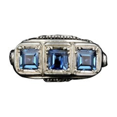 Art Deco 14K White Gold Natural No Heat Cornflower Blue Sapphire 1.50CTW Ring