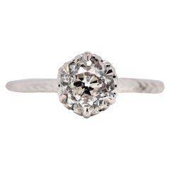 Art Deco 14 Karat White Gold Six Claw-Prong Solitaire Diamond Ring #60