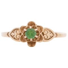 Art Deco 14K Yellow Gold Floral Vintage Ring with Leaf Carving and Emerald Ring