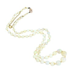 Art Deco 14kt Graduated Opal Beaded Necklace