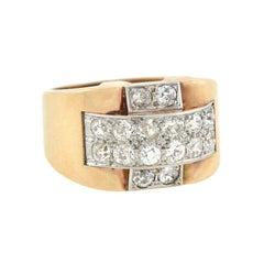 Art Deco 14kt/Platinum and Diamond Statement Ring