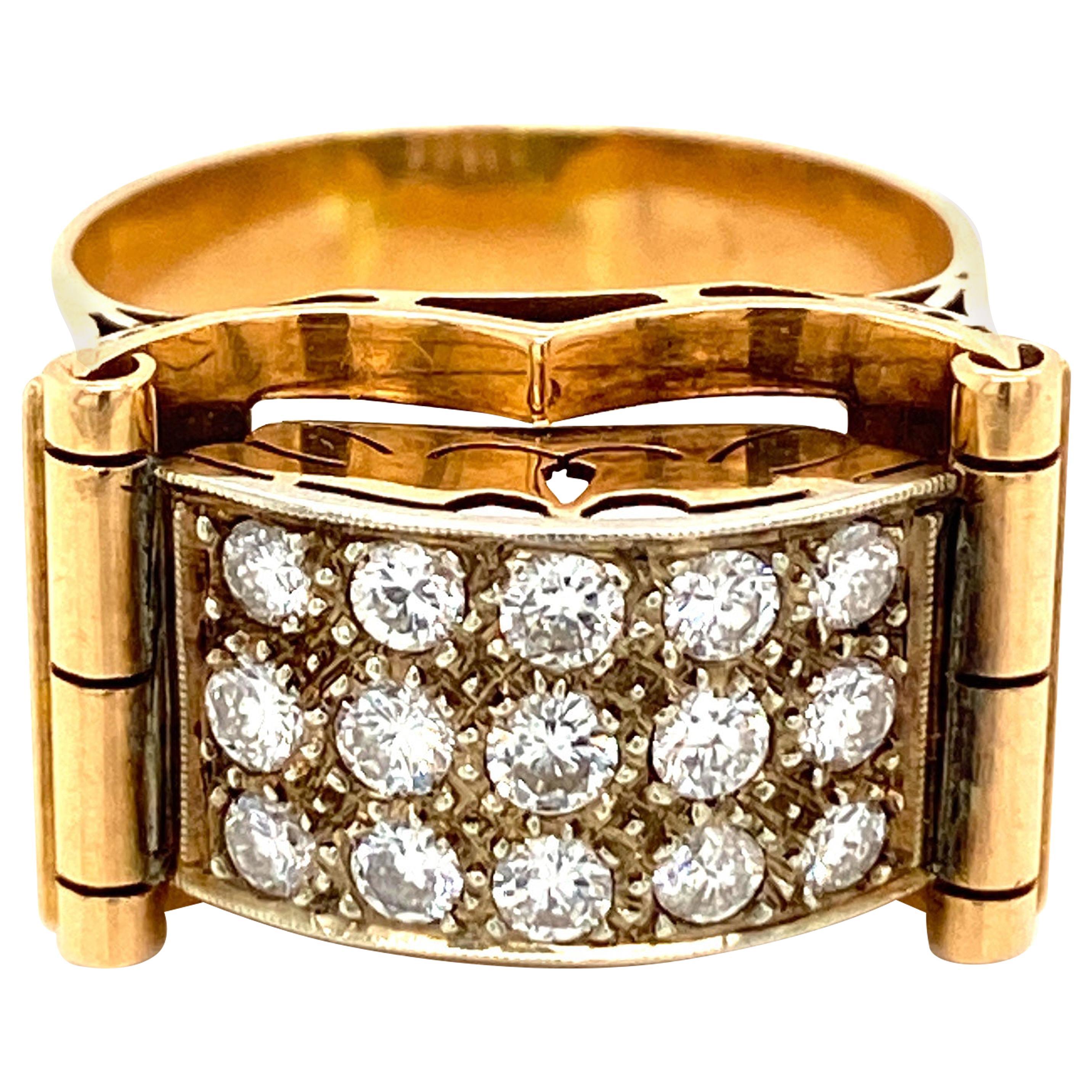 Art Deco 1.50 Carat Diamond Gold Band Ring