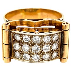 Art Deco 1.50 Carat Diamond Gold Band Ring