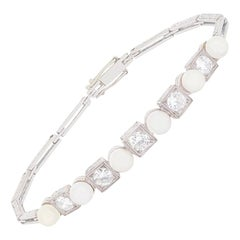 Art Deco 1.50 Carat Diamond and Pearl Bracelet, circa 1920s
