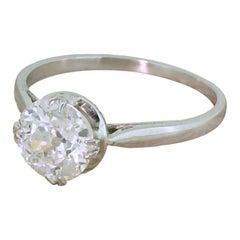 Art Deco 1.51 Carat Old Cut Diamond Engagement Ring