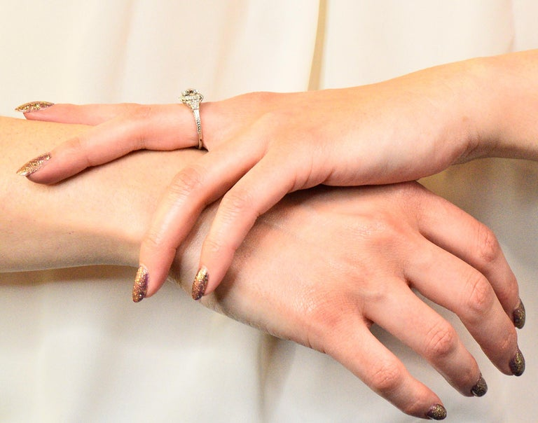 Art Deco 1.51 Carat Diamond Platinum Engagement Ring GIA For Sale 5