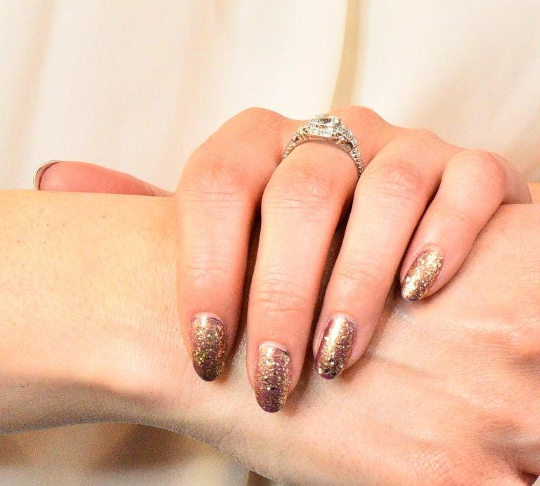 Art Deco 1.51 Carat Diamond Platinum Engagement Ring GIA For Sale 6