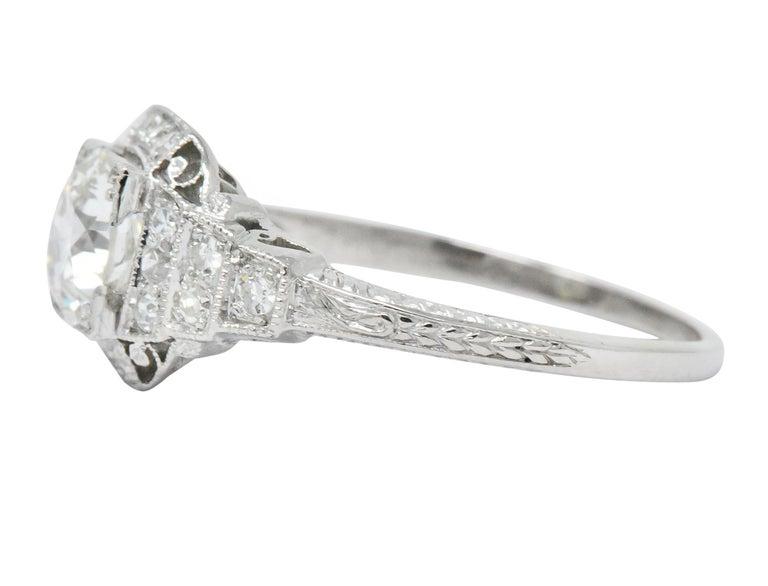 Old European Cut Art Deco 1.51 Carat Diamond Platinum Engagement Ring GIA For Sale