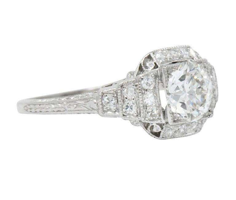 Art Deco 1.51 Carat Diamond Platinum Engagement Ring GIA In Excellent Condition For Sale In Philadelphia, PA