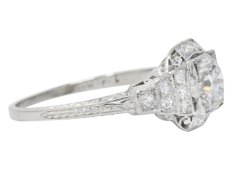 Women's or Men's Art Deco 1.51 Carat Diamond Platinum Engagement Ring GIA For Sale