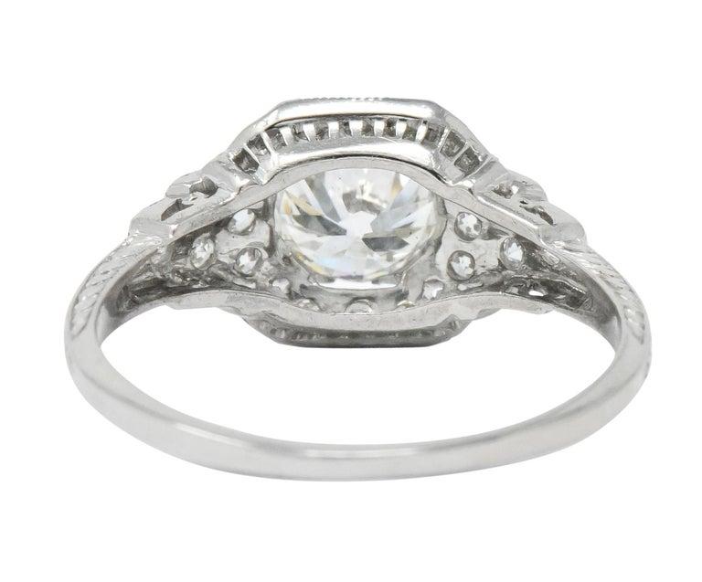 Art Deco 1.51 Carat Diamond Platinum Engagement Ring GIA For Sale 1