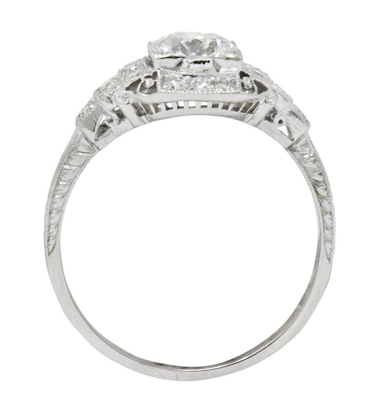 Art Deco 1.51 Carat Diamond Platinum Engagement Ring GIA For Sale 2