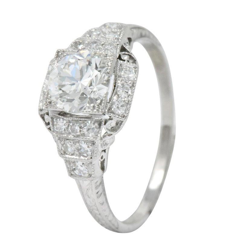 Art Deco 1.51 Carat Diamond Platinum Engagement Ring GIA For Sale 3