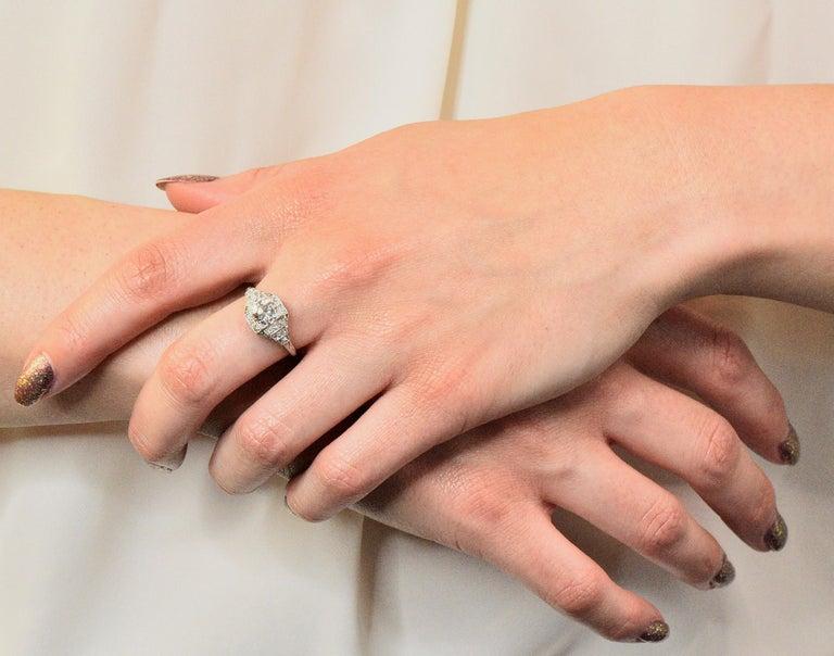 Art Deco 1.51 Carat Diamond Platinum Engagement Ring GIA For Sale 4