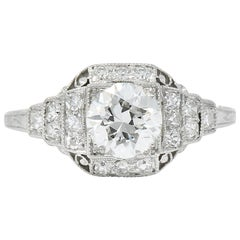 Art Deco 1.51 Carat Diamond Platinum Engagement Ring GIA