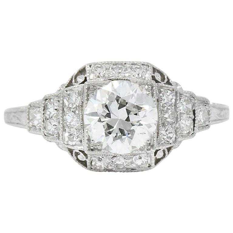 Art Deco 1.51 Carat Diamond Platinum Engagement Ring GIA For Sale