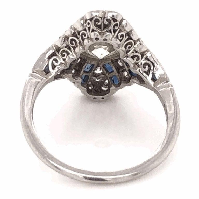 Women's Art Deco Style 1.52 Carat Diamond Platinum Engagement Ring Estate Fine Jewelry For Sale
