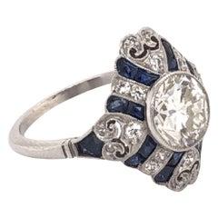 Art Deco Style 1.52 Carat Diamond Platinum Engagement Ring Estate Fine Jewelry
