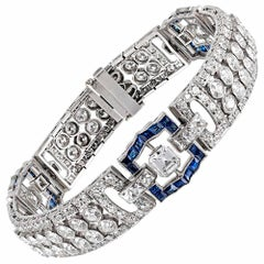 Art Deco 15.25 Carat Diamond and Sapphire Bracelet