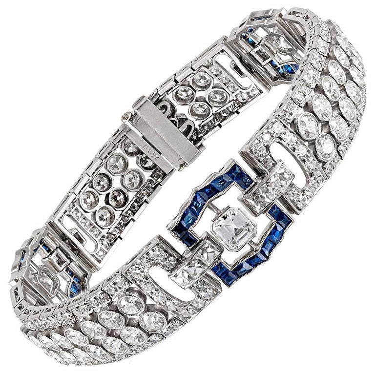 Art Deco 15.25 Carat Diamond and Sapphire Bracelet