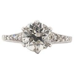 Art Deco 1.54 Carat Platinum Diamond Solitaire Engagement Ring