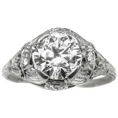Art Deco 1.55 Carat Diamond Platinum Engagement Ring