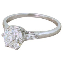 Art Deco 1.55 Carat Old Cut Diamond Engagement Ring