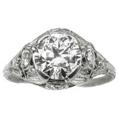 Art Deco 1.55 Carat Old European Cut Diamond Platinum Engagement Ring