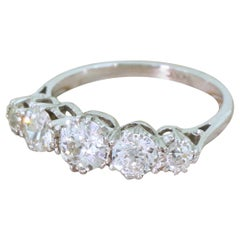 Art Deco 1.56 Carat Old Cut Diamond Platinum Five-Stone Ring