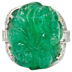 Art Deco 15.60 Carat Carved Colombian Emerald Diamond Platinum Cocktail Ring