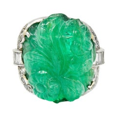 Art Deco 15.60 Carats Carved Colombian Emerald Diamond Platinum Cocktail Ring