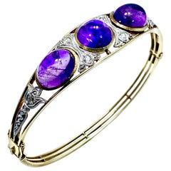 Art Deco Style 15.60ct Cabochon Amethyst and Old European Cut Diamond Bracelet