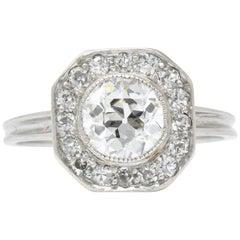 Art Deco 1,58 Karat Alteuropäischer Diamant Platin Verlobungsring