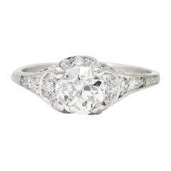Art Deco 1.58 Carats Diamond Platinum Engagement Ring